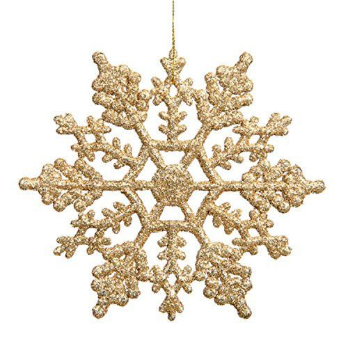 Felices Pascuas Collection Club Pack of 24 Shimmering Gold Glitter Snowflake Christmas Ornaments 3.75 inch