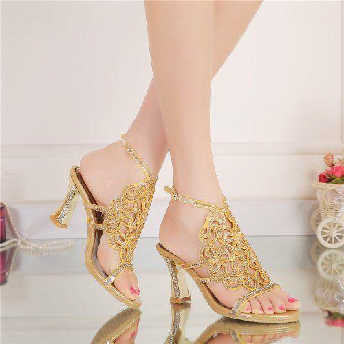 16713329cfd2 Amazon.com  Unicorelle Women s Bohemian Crystal Rhinestone with Adjustable  Sling Peep Toe Open Back Bridal Sandals  Clothing