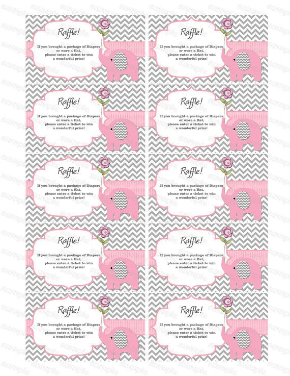 Elephant Baby Shower Diaper Raffle Ticket Diaper Raffle Card Diapers  Raffles Baby Shower Games Printable Digital Files (50custom)