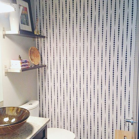 A Stenciled Bathroom Accent Wall Using The Beads Allover Pattern From Cutting Edge Stencils