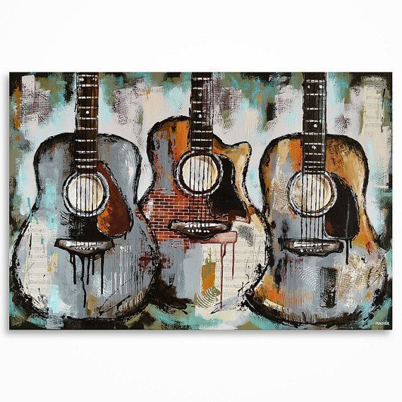peinture de guitare cadeau pour un musicien musique par magdamagier deco gala pinterest. Black Bedroom Furniture Sets. Home Design Ideas