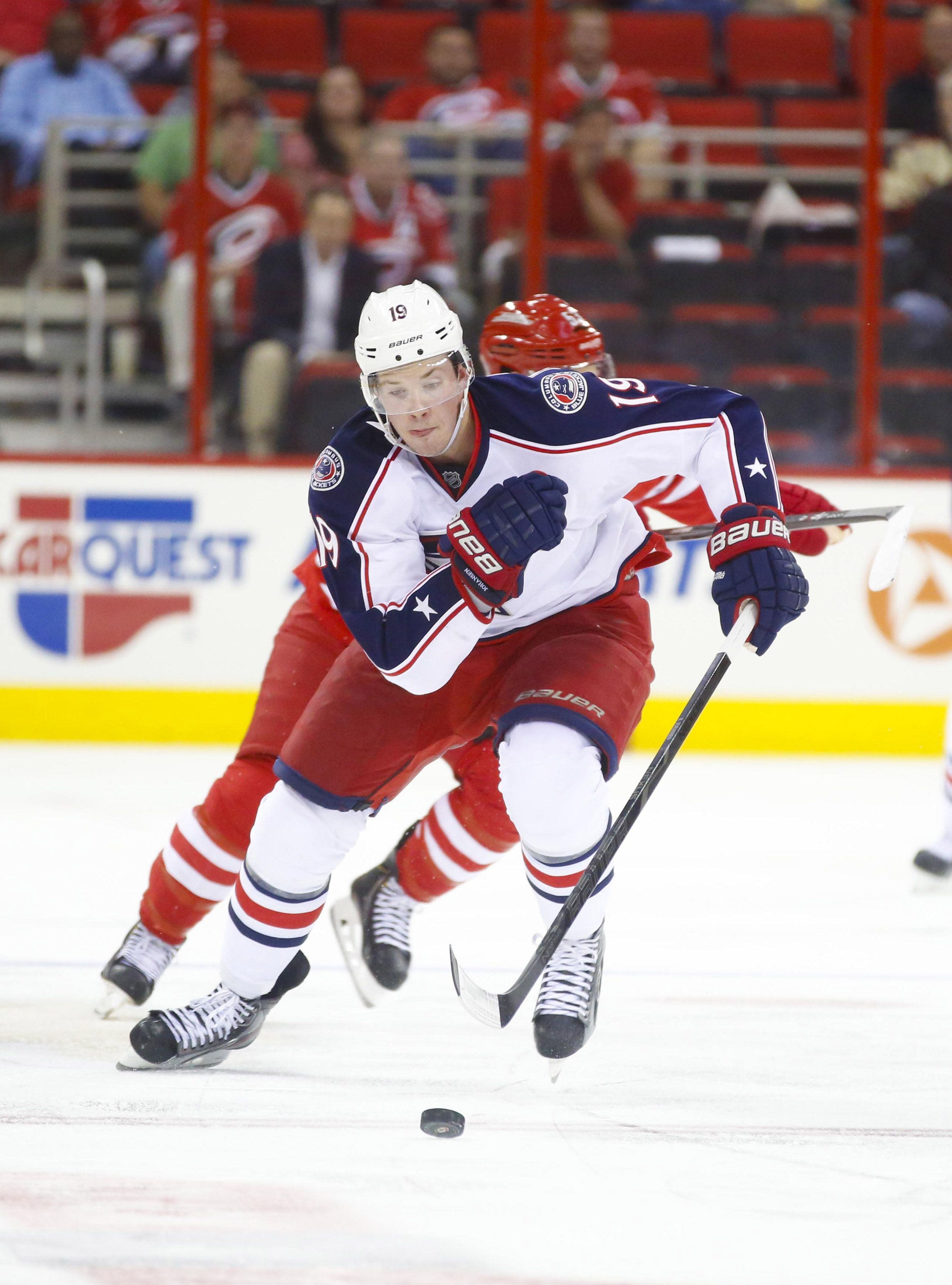 CrowdCam Hot Shot: Columbus Blue Jackets center Ryan Johansen carries the puck against the Carolina Hurricanes at PNC Center. The Blue Jackets defeated the Hurricanes 5-4. Photo by James Guillory