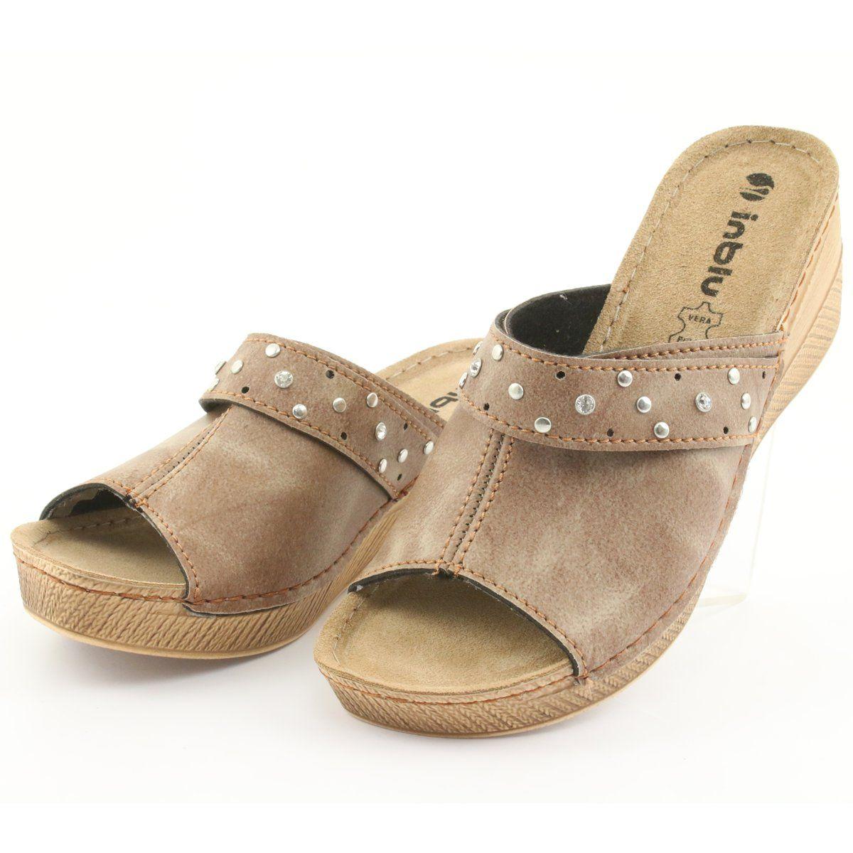 Klapki Damskie Koturno Inblu Os007 Brazowe Womens Slippers Comfortable Work Shoes Elegant Slippers