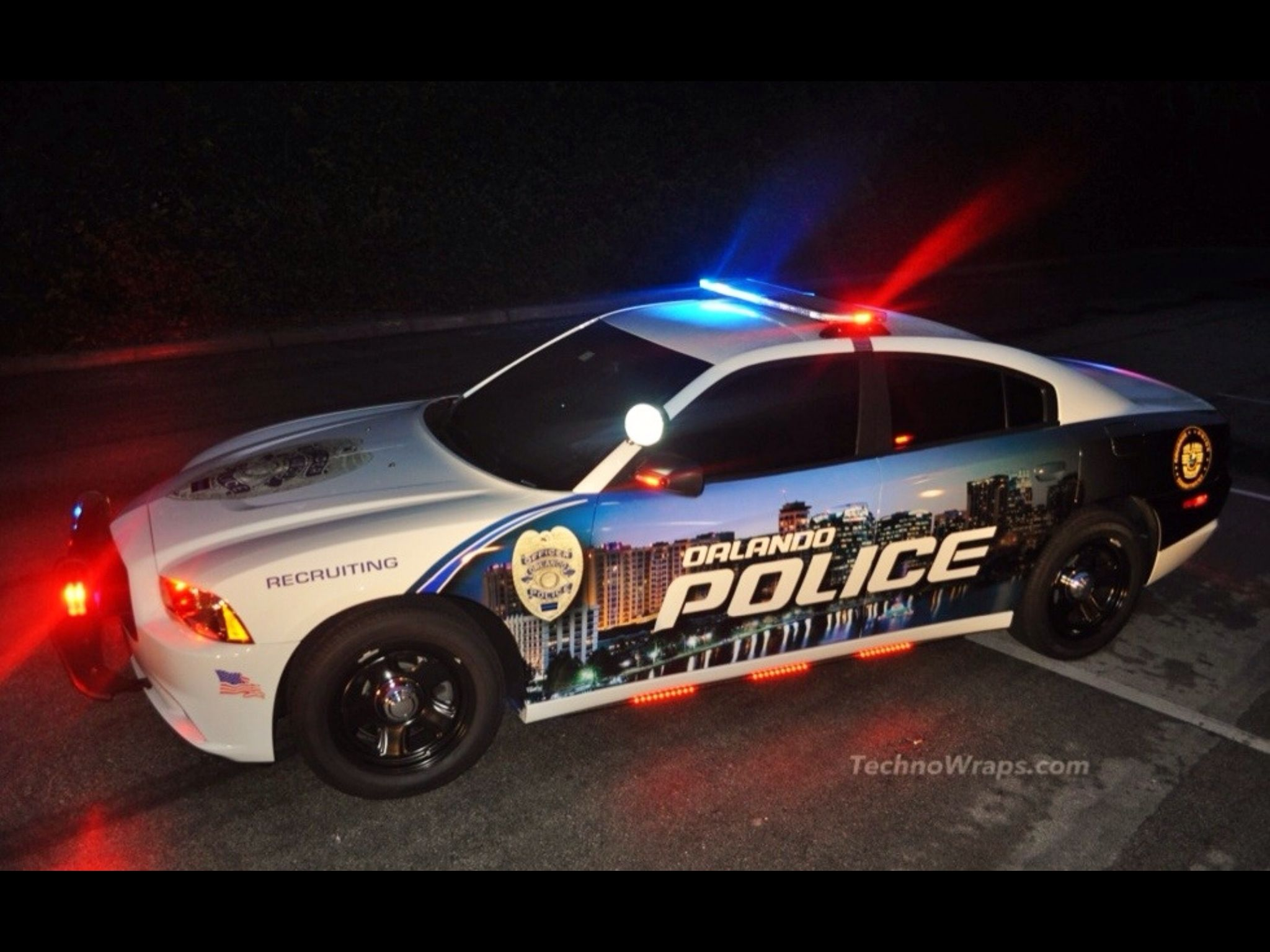 City of Orlando Police cars, Rescue vehicles, Police