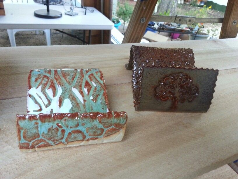 Holders for business cards, cell phones or soap - by Out of Office Pottery Studio - Highland Village TX