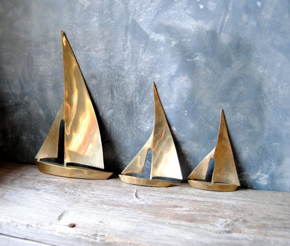Vintage Brass Sailboats: Large Solid Brass Nautical by Untried