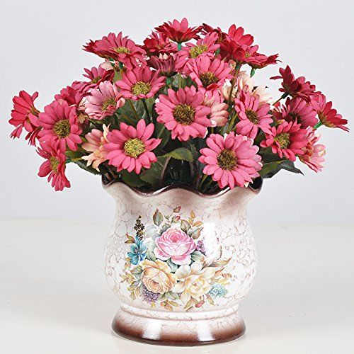 Daisy Emulation Flower Pots Pastoral Style Home Indoor Plastic