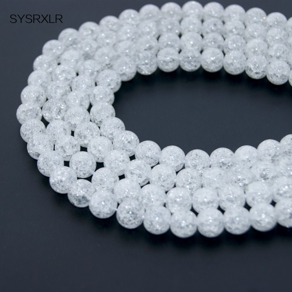 """Wholesale Natural White Snow Cracked Crystal Stone Beads 15"""" Strand 4/6/8/10/12 MM Pick Size For Jewelry Making DIY Bracelet #Affiliate"""