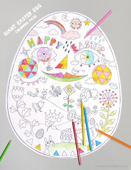 Free Easter Printables: Giant Easter Egg Coloring Page   Mr. Printables
