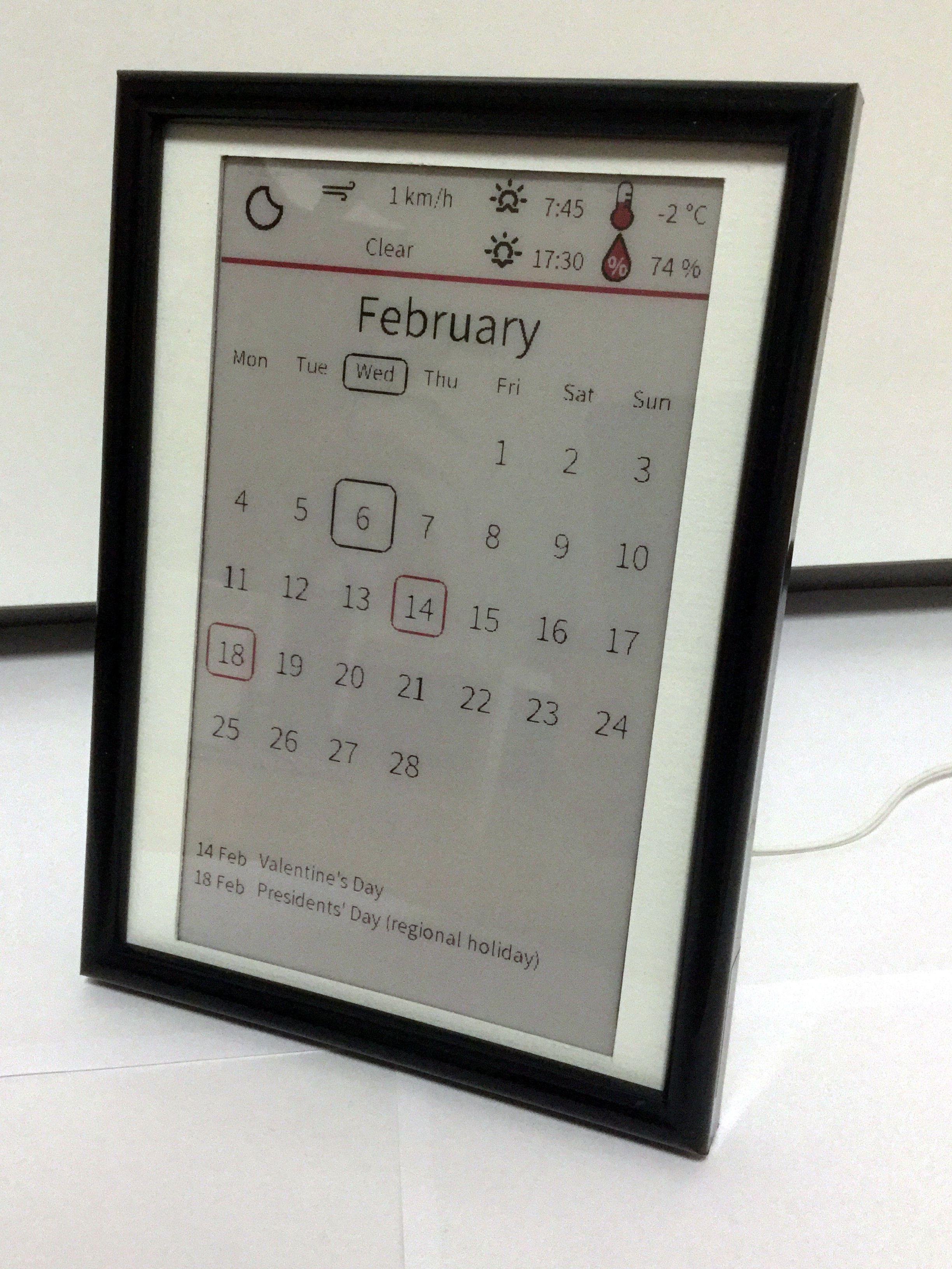 Digital Calendar With E Paper Display Mit Bildern Arduino