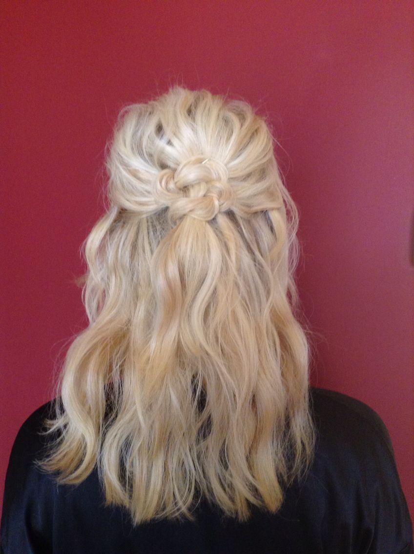 half up half down bridesmaid celtic knot blonde beach waves