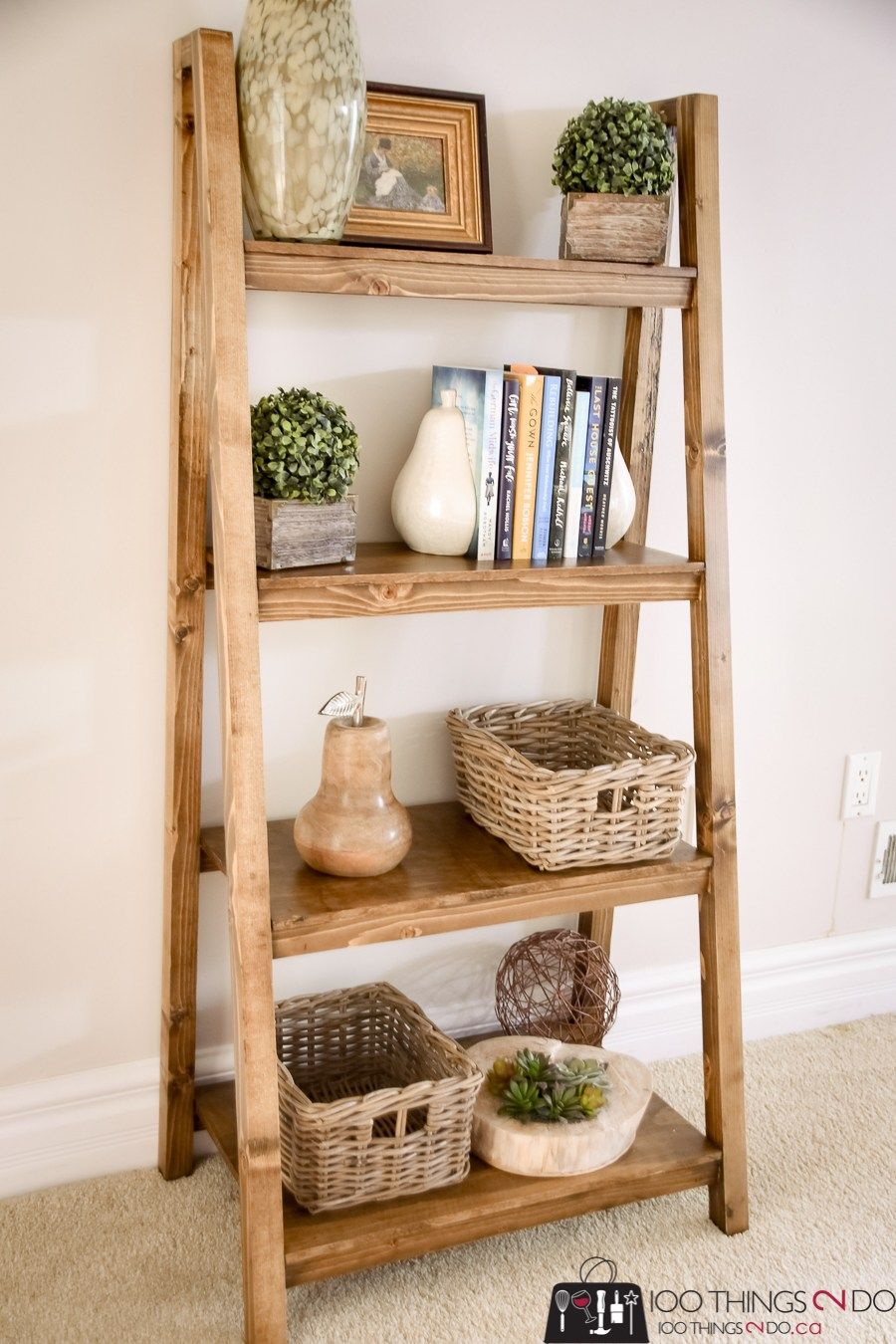 Freestanding, Angled Bookcase free building plans! 100