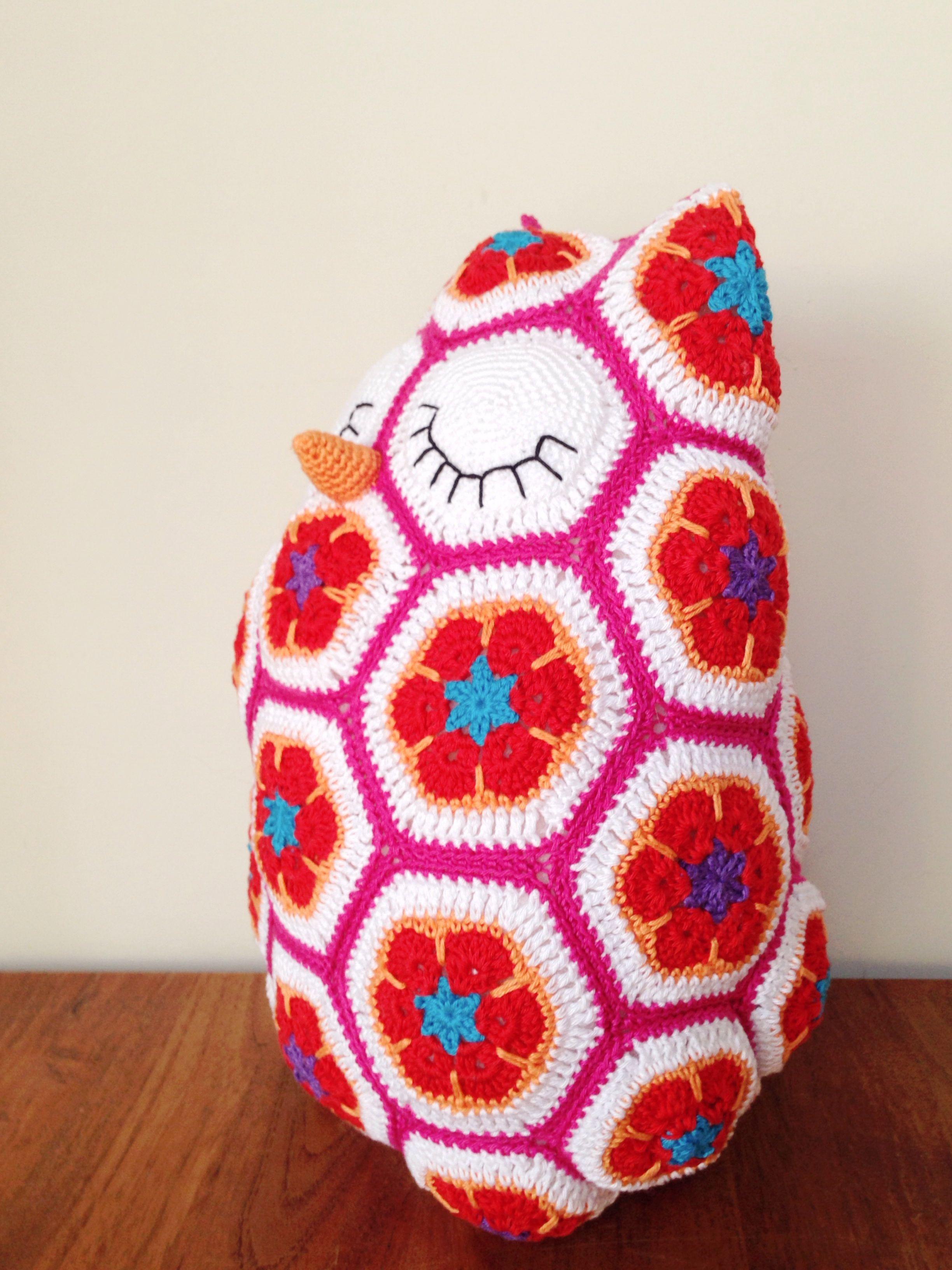 Maggie The Owl Crochet African Flower Maggie De Uil Gehaakt