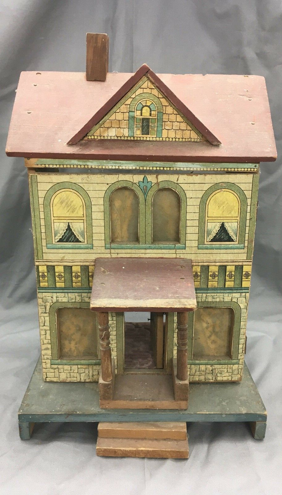 Antique R Bliss Wooden Dollhouse Lithograph Wood Doll House 2 Story