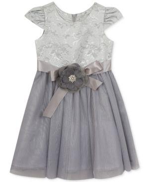 Rare Editions Silver Brocade Dress, Toddler & Little Girls (2T-6X) - Silver 2T
