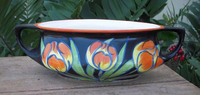 Very prized Czech Art Deco Pottery 2 handled low Vase produced by the Ditmar Urbach company in the sought after Tulip pattern--$155.00--