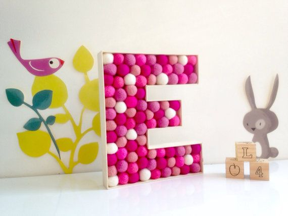 Bedroom Decor Letters nursery letter e. felt ball letter, kids room decor, nursery decor