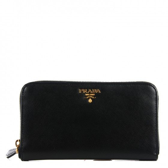 80c66da327c8 This is an authentic PRADA Saffiano Metal Large Zip Around Wallet in Nero  Black. $450