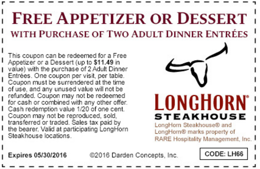 picture about Longhorns Printable Coupons titled LongHorn Steakhouse Printable Coupon: Cost-free Appetizer or