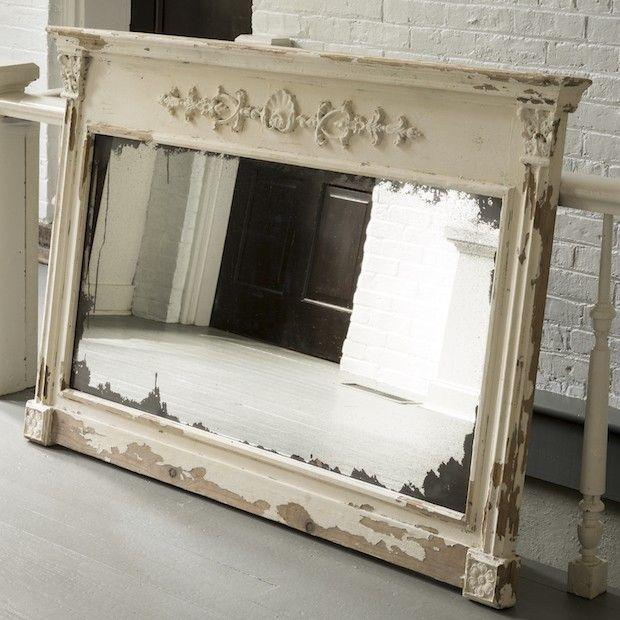 Huge Rustic Ornate Wood Framed Mirror