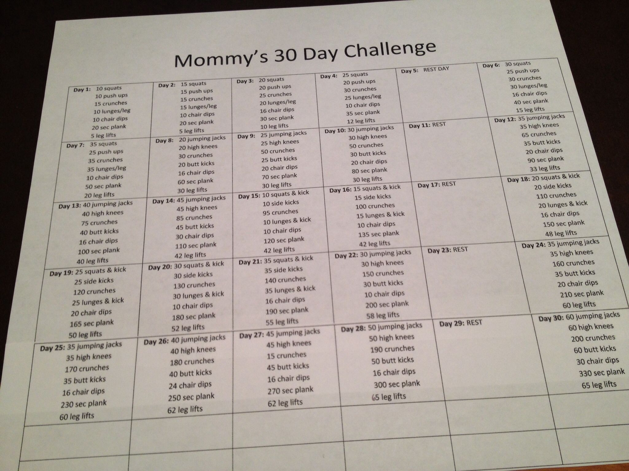 My 30 day challenge. I combined arms, abs, plank, and the no equipment challenges together into one!
