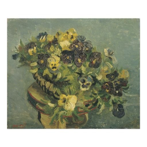 Basket of Pansies on a Small Table by Van Gogh Photo Print