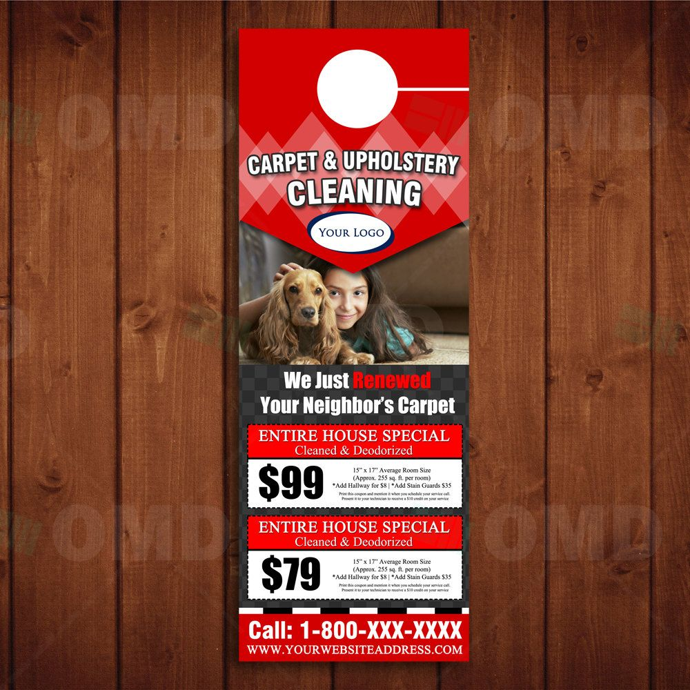 Instant Download  Coupon Carpet Cleaning Door Hanger Template