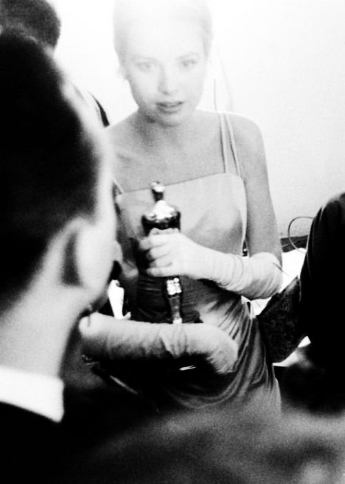 fire:  Grace Kelly backstage at the 27th Academy Awards, 1954.