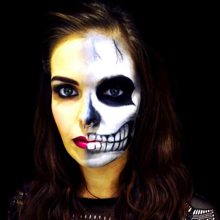 Maquillage halloween 99 inspirations pour le visage maquillage halloween t te de mort et le - Maquillage halloween moitie visage ...