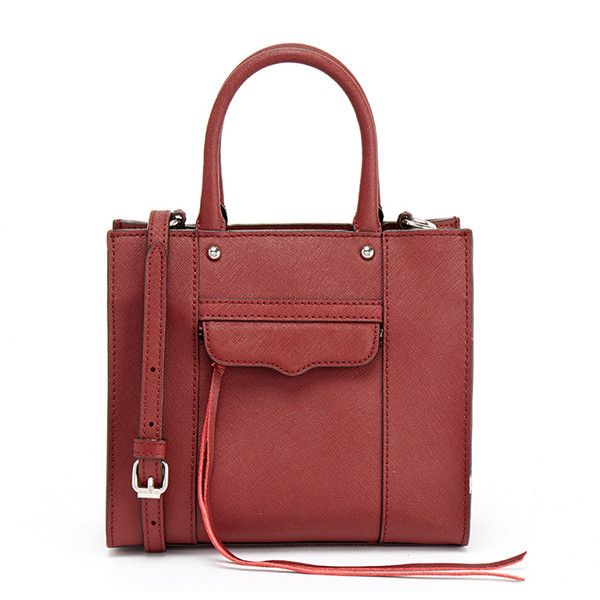 Rebecca Minkoff Red Mab Tote Mini Bag (455 ILS) ❤ liked on Polyvore featuring bags, handbags, tote bags, red, handbags totes, genuine leather tote, red leather tote bag, red tote and leather handbag tote
