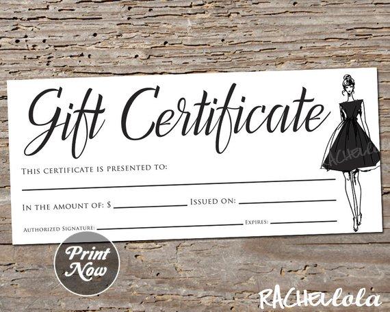 Little Black Dress Printable Gift Certificate Template Etsy Printable Gift Certificate Gift Certificate Template Printable Gift