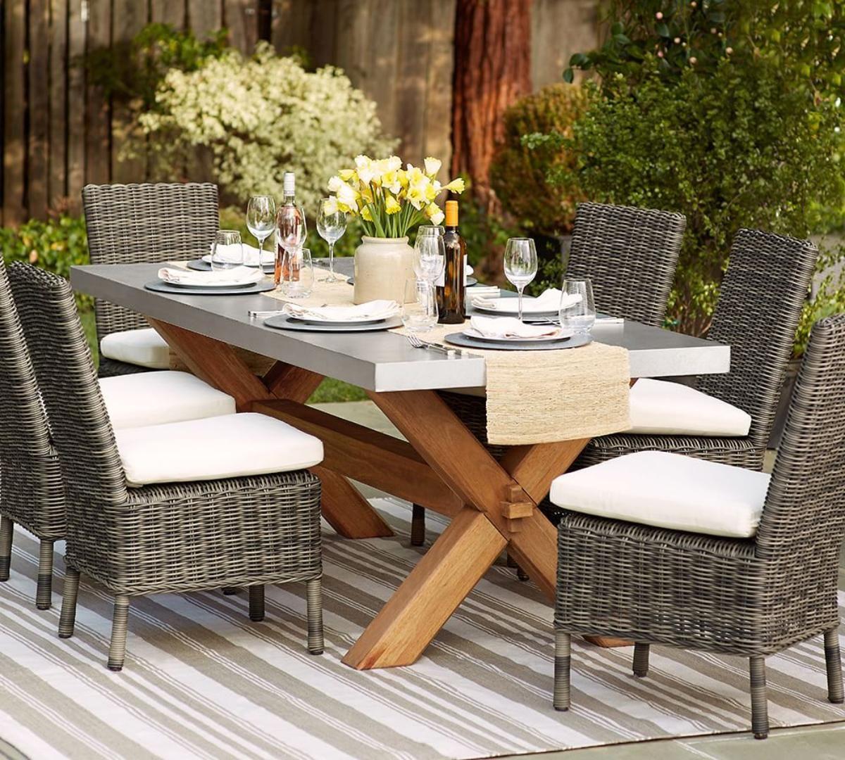 Abbott Zinc Top Rectangular Fixed Dining Table Pottery