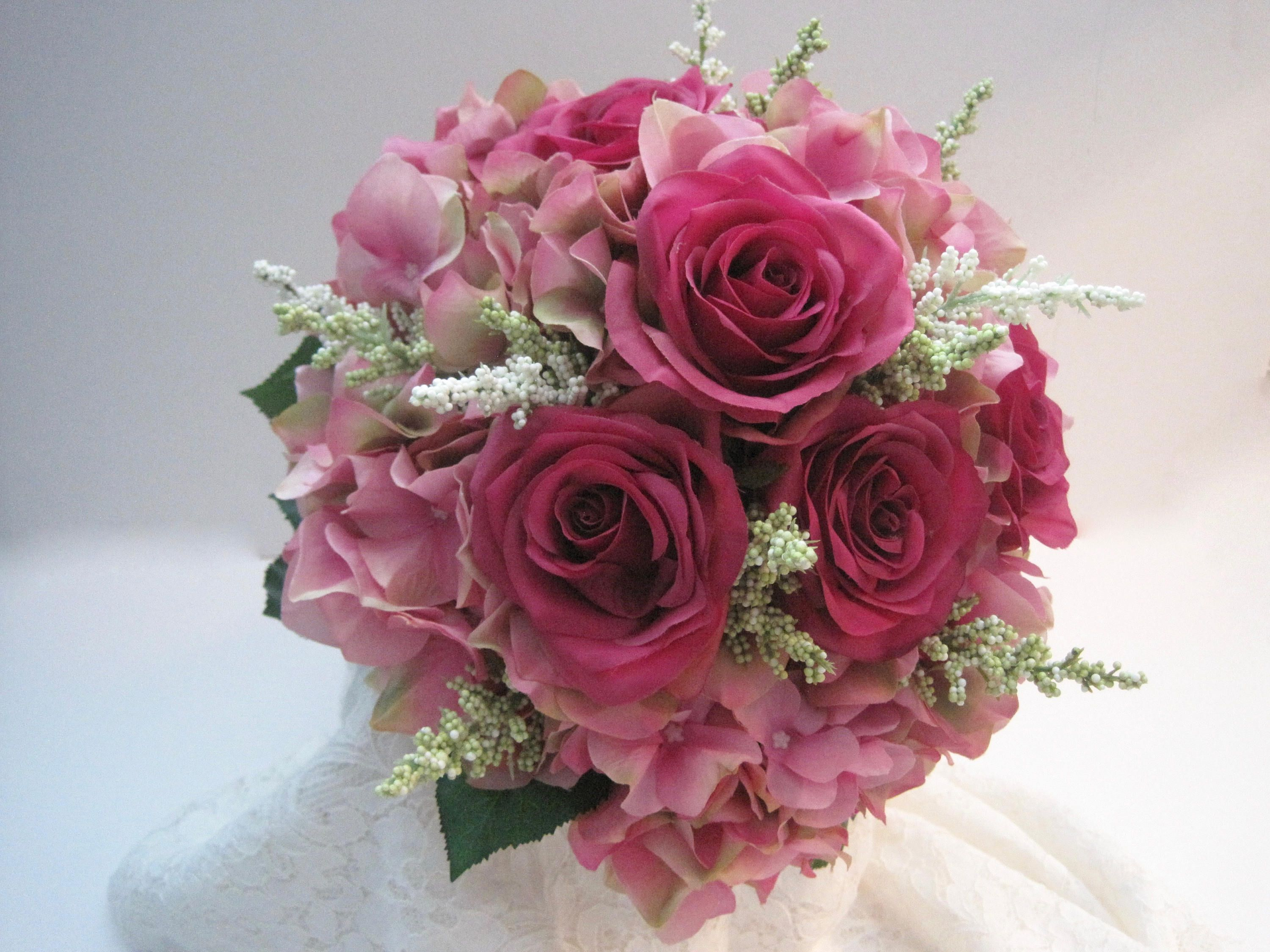 Stunning pink bridal bouquet with pink hydrangea and dark pink roses stunning pink bridal bouquet with pink hydrangea and dark pink roses french knotted with pearl and rhinestone accent handle mightylinksfo