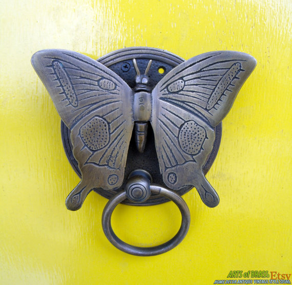 VINTAGE BUTTERFLY Door Knocker Detailed ANTIQUE by ArtsofBrass ...