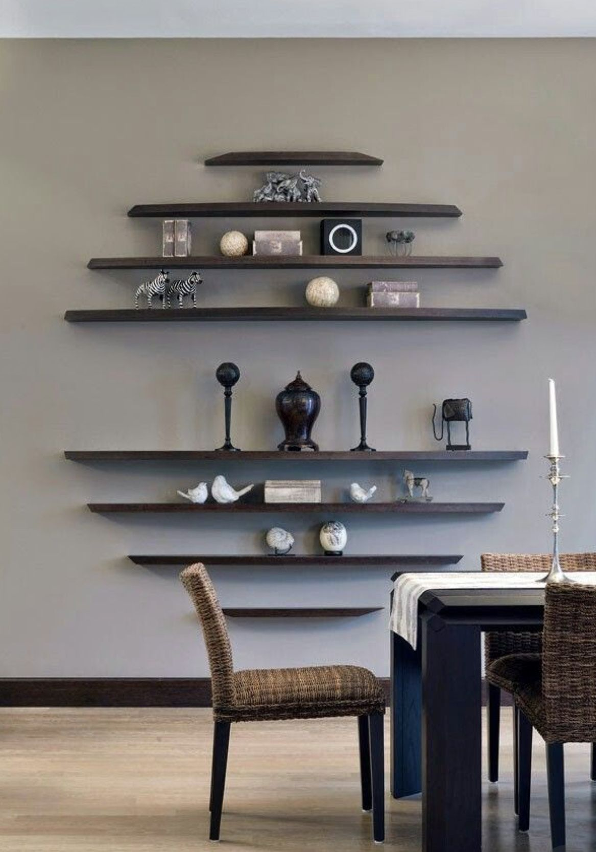 This Could Be Great In A Square Or Even By Doing A Half Circle With The Mac Logo On Top To Complete The Circle Home Decor Decor Shelves