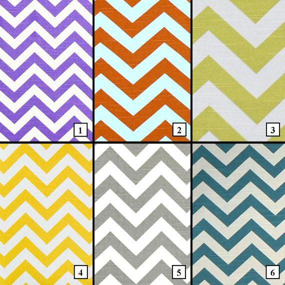 Chevron Curtain Panels, cotton duck slub fabric (linen-like ...