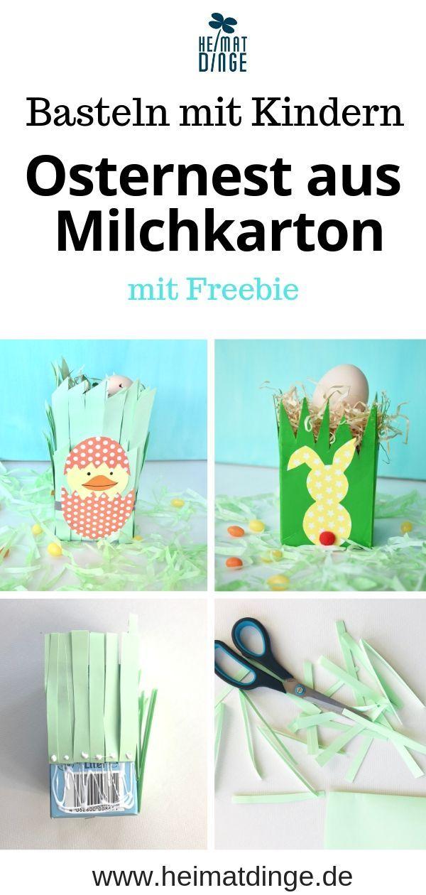 Upcycling Idee: Osterkörbchen aus Milchkarton mit Kindern basteln -