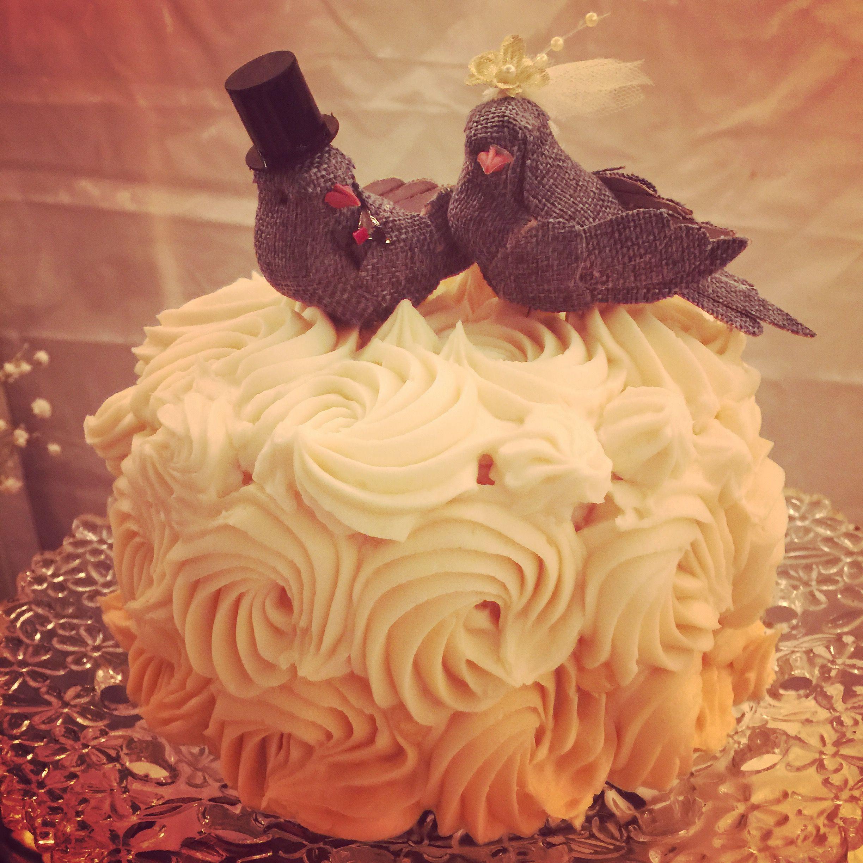 Amazing small wedding cake with homemade birds!!