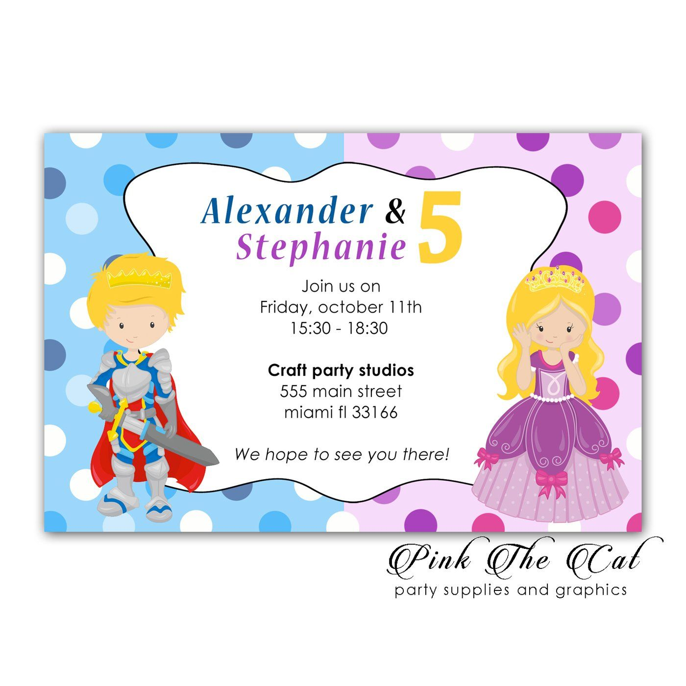 Prince Princess Invitations With Envelopes (set Of 30