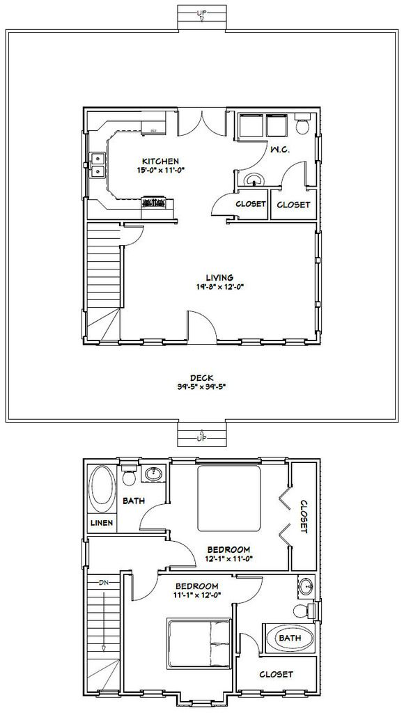 24x24 House 24x24h11c 1 092 Sq Ft Excellent Floor Plans