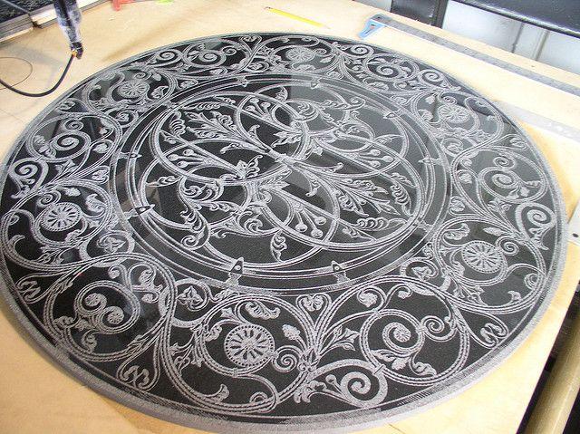 Laser Etched Granite Floor Medallion Design Inspiration