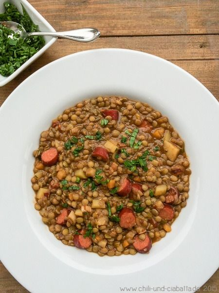 Linseneintopf mit Cabanossi (Chili und Ciabatta) | Suppen ...