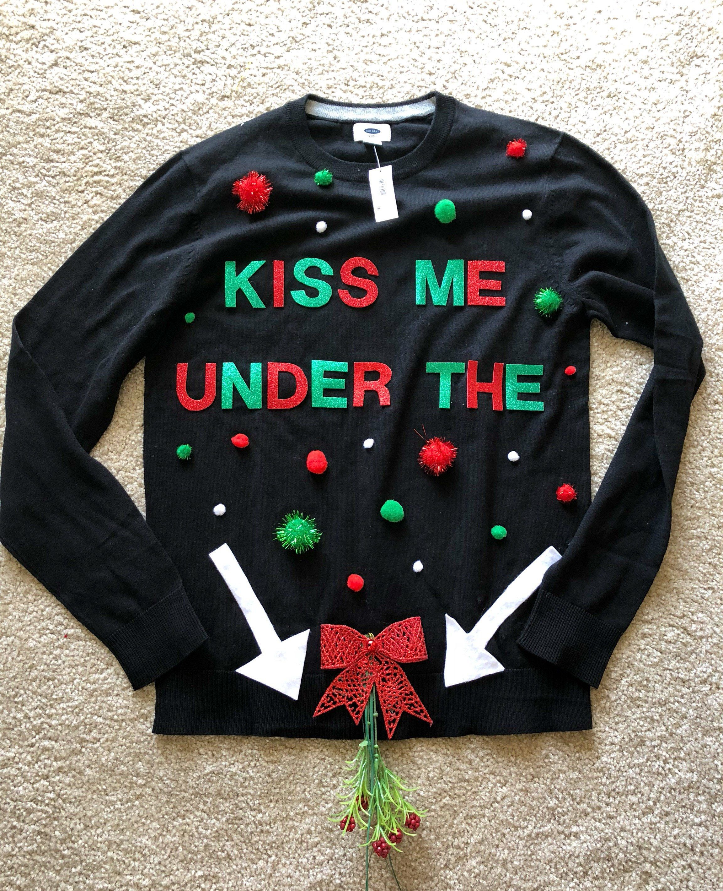 Naughty Ugly Christmas Sweater is so funny! Kiss me under the ...