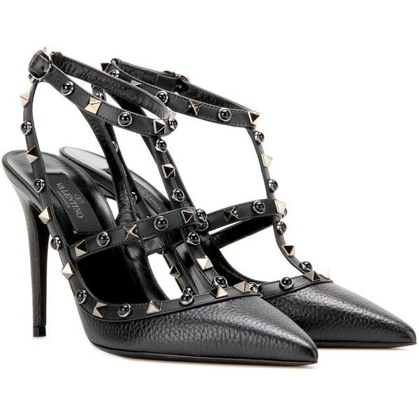 Shop Valentino Garavani Rockstud Rolling Noir leather pumps presented at  one of the world's leading online stores for luxury fashion.