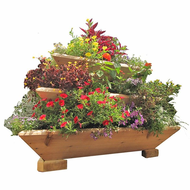 Rectangle Raised Flower Box Planter Bed 2 Tier Soil Pots: Red Cedar Wood Planter, Trio Life, 3 Tier, Freestanding