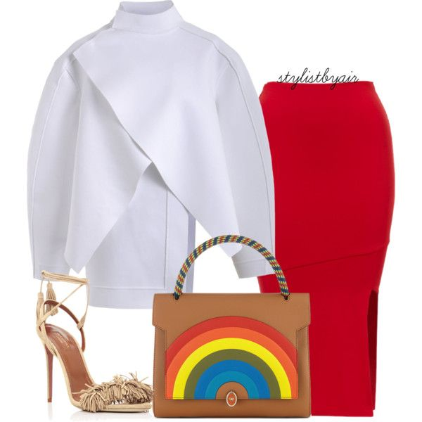 A fashion look from August 2015 featuring Masha Ma jackets, Aquazzura sandals and Anya Hindmarch handbags. Browse and shop related looks.