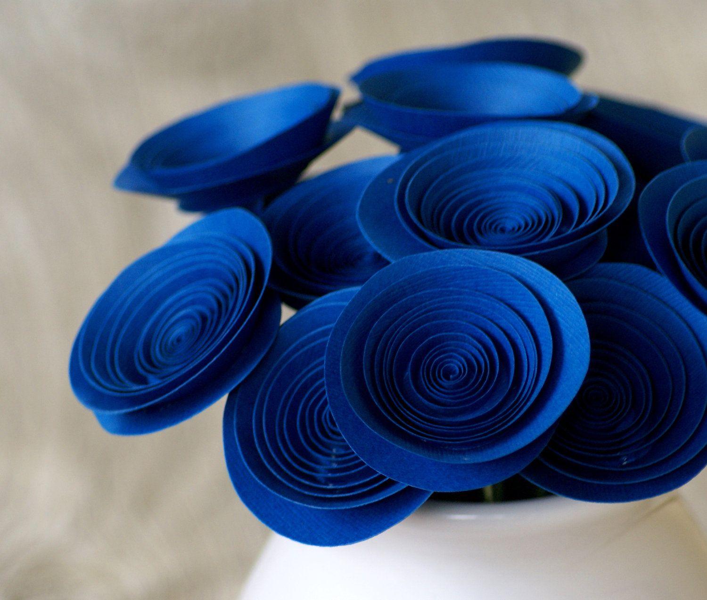 18 Royal Blue Paper Flowers Blue Centerpiece Holy Shit Were