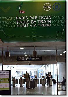 Paris par train sign, CDG Airport, Paris, France