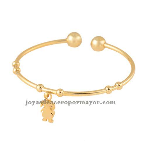 pulseras dorados con dijes ninita de joyas en acero