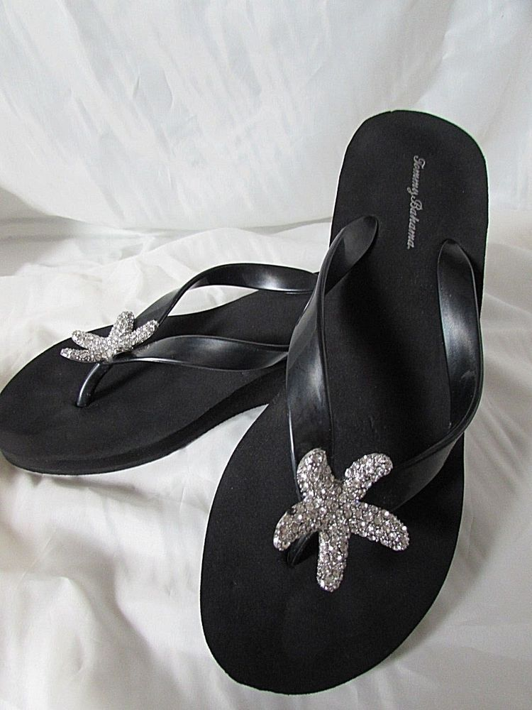 5b50cfd0f3f3ba TOMMY BAHAMA Black with Large Rhinestone Starfish Wedge Flip Flop Sandals  Sz 12   TommyBahama  FlipFlops  BeachPool